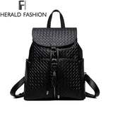 Knitted Backpack Women Bag Weave Leather Top-handle Mochila Feminina School Bags For Teenage Girls Preppy Style Herald Fashion