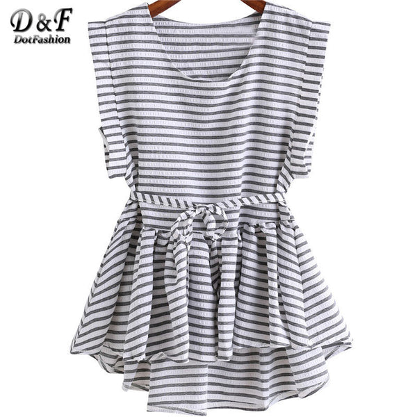 top - Fashion accessories ,clothing, jewelry, Brand Clothing China Ladies Black and White Striped Tops Pleated Sleeveless Round Neck Dip Hem High Low Peplum Loose Blouse - clothing, Gorgeous things online - gorgeous things online