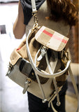 2014 New Arrival Women Fashion Plaid Travel Backpacks Decoration With Belt White Leather backpacks Beige Free Shipping