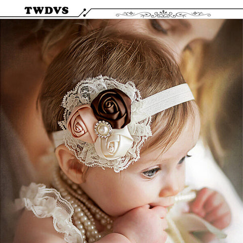 TWDVS Newborn Baby Infant Baby Flower Headband Baby Pink Lace Hair Band Infant Girl Felt Flower Scarf Hair Accessories w-033