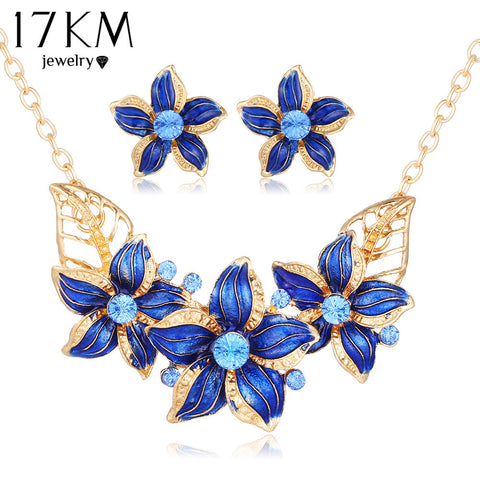 17KM New Crystal Flower Jewelry Set Necklace Earrings African Maxi Statement Jewelry Wedding Bridal Pendant Dress Accessories