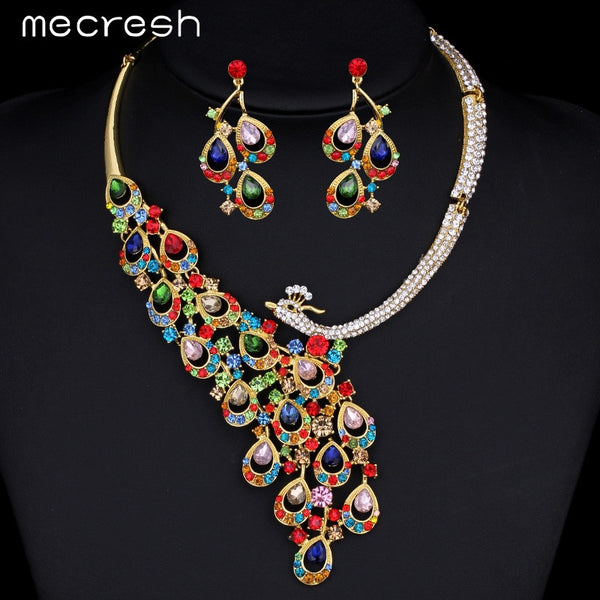 Mecresh Peacock Imitated Gemstone Gold Plated Jewelry Sets African Jewelry Set  Necklace Earrings TL062