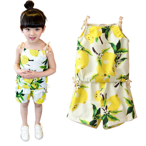 2-6Years Girls Summer Casual Clothes Set Children Sleeveless T shirt +Short Pants Sport Suits 2016 Girl Clothing Sets for Kids