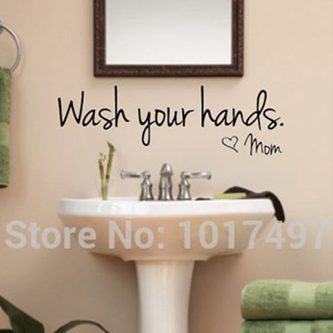 bathroom wall stickers -- Wash Your Hands Love Mom - Waterproof  Art Vinyl decal bathroom wall decor ,F2071