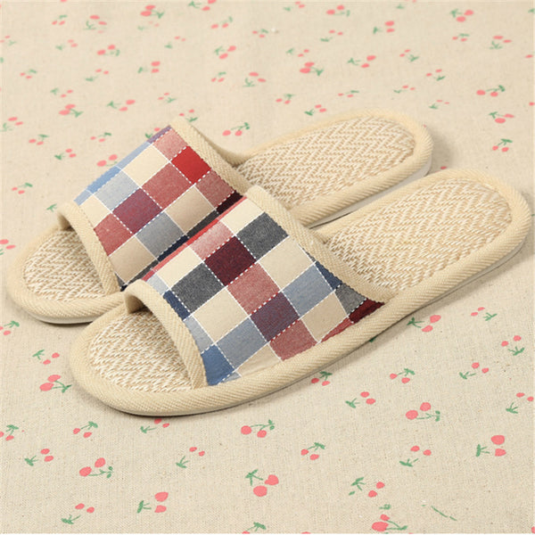 bedroom wear - Fashion accessories ,clothing, jewelry, 5 Colors Hot Sale Summer Lover Women&Men Home Shoes Plaid Linen Indoor Sandal Non-slip Ventilation Couple Floor Slippers Panas - clothing, Gorgeous things online - gorgeous things online
