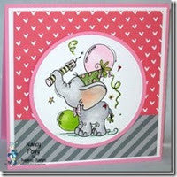 Adorable Birthday Elephant with balloons Digi Stamp.www.bugaboostamps.com