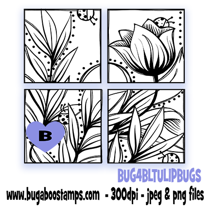 Digi Stamps,tulip blocks,Bugaboo Stamps