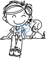 Digi stamps,BUGAKVBSITDOG boy sitter with dog,Bugaboo Stamps,