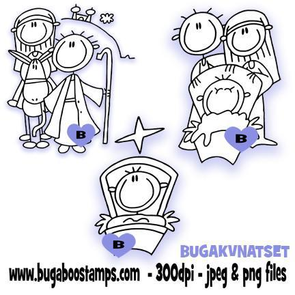 AKV (a kids view) Nativity Image Set Images, Digi stamps, clip art, coloring pages and illustrations from Bugaboo Stamps