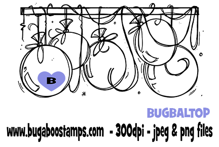 birthday balloon topper digi stamps, clip arts, illustrations from Bugaboo Stamps