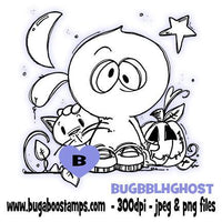 Digi stamps-cute bobblehead ghost for halloween-www.bugaboostamps.com