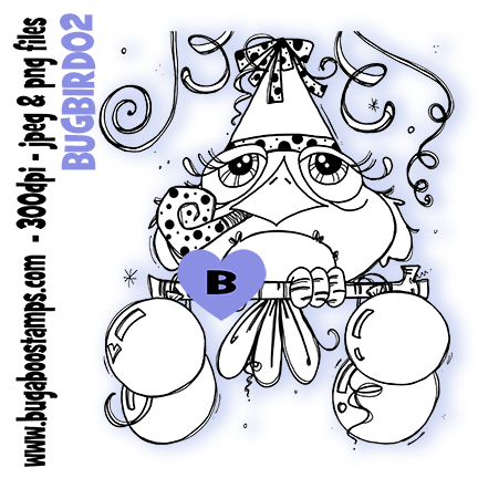 Bugaboo Stamps cute Birthday Bird digi stamp, clip art, illustration