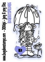 girl umbrella spring digi stamps, clip art, illustrations from Bugaboo