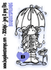 Brat Girl Spring Umbrella Digi Stamp