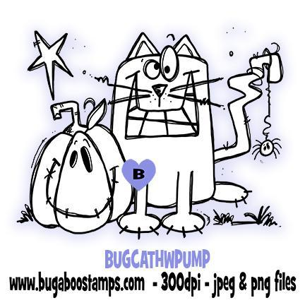 digi stamps black cat halloween with pumpkin from Bugaboo stamps