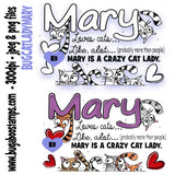 Crazy Cat Lady Mary Digi Stamp  Images, Digi stamps, clip art, coloring pages and illustrations from Bugaboo Stamps
