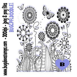 Flower Doodles 1 coloring page  Digi stamps, Images, clip art, illustrations from Bugaboo Stamps