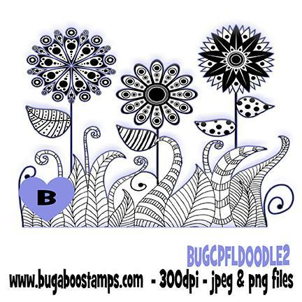 Flower Doodles 2 coloring page  Digi stamps, Images, clip art, illustrations from Bugaboo Stamps