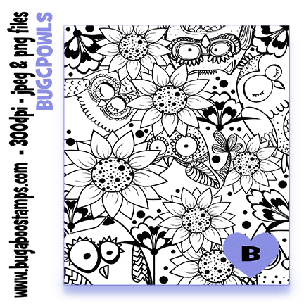 Owls and Flowers coloring page  Digi stamps, Images, clip art, illustrations from Bugaboo Stamps