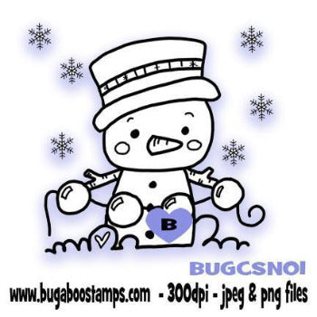 Cute Snowman 01 Images, Digi stamps, clip art, coloring pages and illustrations from Bugaboo Stamps