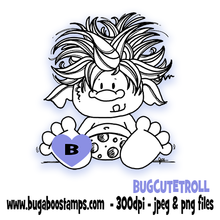 A cute little troll digi stamp, clip art, illustration from Bugaboo