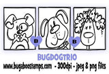 Dog Trio Blocks Digi stamp.www.bugaboostamps.com