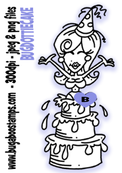 Dottie jumping out of a cake birthday image. Digi stamps, clip art, coloring pages, illustrations from Bugaboo Stamps.