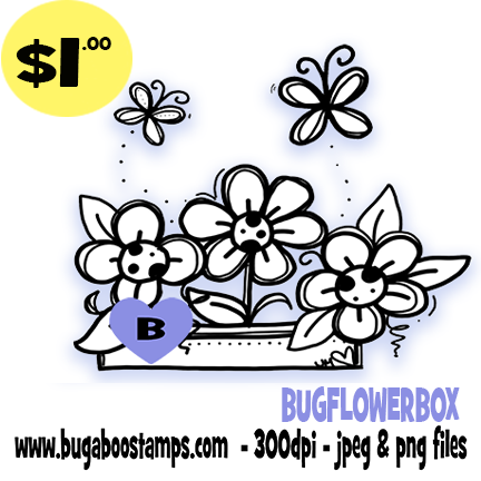 Bugaboo Stamps Flowerbox Digi Stamp, clip art, illustration