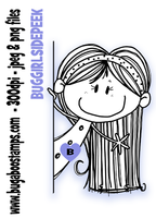 Digi stamps,BUGGIRLSIDEPEEK Girl Side Peeker,Bugaboo Stamps,