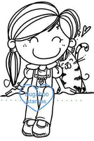 Digi stamps,BUGGIRLSITTERCAT girl sitter with cat,Bugaboo Stamps,