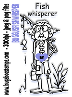 Gus Fish Whisperer image .Digi stamps, clip art, illustrations from Bugaboo Stamps