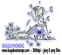 Guy mowing grass image.  Digi stamps, clip art, illustrations from Bugaboo Stamps