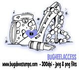 Heel and accessory girly image.  Digi stamps, clip art, illustrations from Bugaboo Stamps