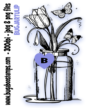 Bugaboo Digi Stamps Tulip Jar digi stamp, clip art, illustration
