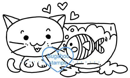Digi stamps,BUGKCAT01 Cute Kawaii Cat,Bugaboo Stamps,