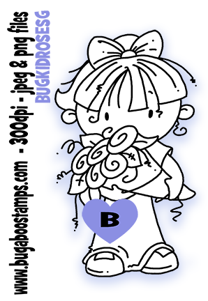 girl with roses digi stamps, clip art, illustrations from Bugaboo