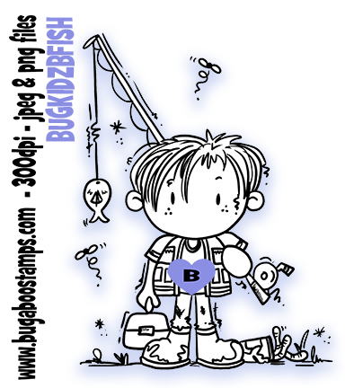 Boy Fishing image Digi stamps, clip art, illustrations from Bugaboo Stamps
