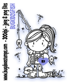 Girl Fishing image. Digi stamps, clip art, illustrations from Bugaboo Stamps