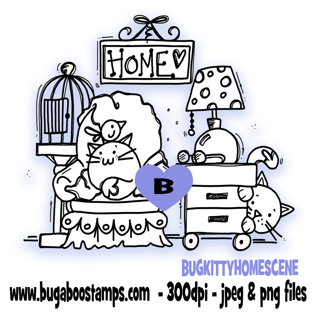 *New for MARCH*,Digi Singles,BUGKITTYHOMESCENE,Bugaboo Stamps,