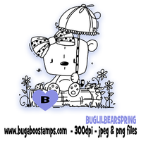 Spring bear digi stamp,clip art, illustration from Bugaboo Stamps