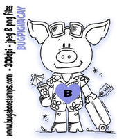 pig vacation Digi stamps, clip art, illustrations from Bugaboo