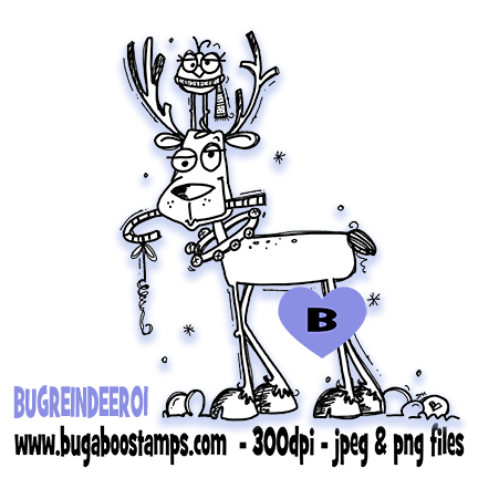 Cute and Goofy looking Reindeer Digi Stamp  Images, Digi stamps, clip art, coloring pages and illustrations from Bugaboo Stamps