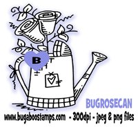 Rose watering can image. Digi stamps, clip art, illustrations from Bugaboo Stamps