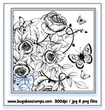 Roses and Butterflies Digi Stamp Image. www.bugaboostamps.com