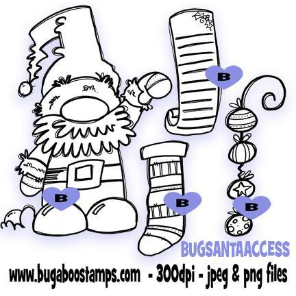 A Cute Santa Digi Stamp Image Set. Change it up with the accessories! Images, Digi stamps, clip art, coloring pages and illustrations from Bugaboo Stamps