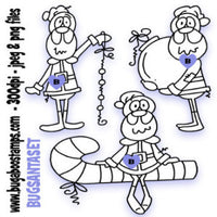 A fun set of 3 Santa Digi Stamps Images, Digi stamps, clip art, coloring pages and illustrations from Bugaboo Stamps
