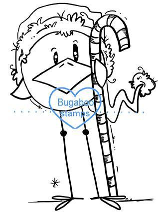 Digi stamps, Skinny Bird Candy Cane,Bugaboo Stamps,