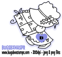 A cute christmas sunbonnet image. Digi stamps, clip art, illustrations from Bugaboo Stamps