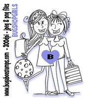 Shopping Girls Digi Stamp. Would also be a great image for sisters or friends!  Images, Digi stamps, clip art, coloring pages and illustrations from Bugaboo Stamps