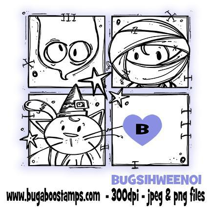 Digi stamps-sign it ghost mummy and cat image for halloween-www.bugaboostamps.com